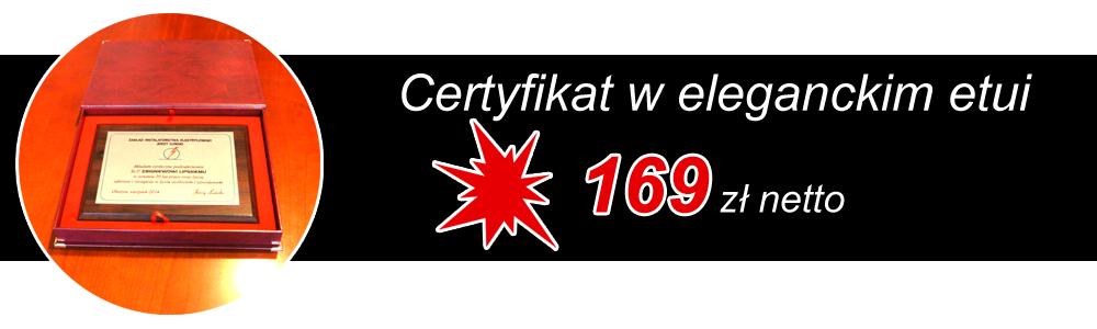 Certyfikat z oferty - gadżety reklamowe Olsztyn