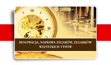 Reklama na wizytówkach usług zegarmistrzowskich