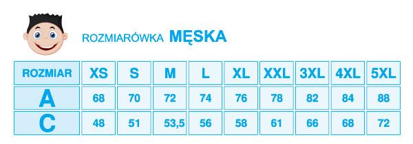 Tabela rozmiarów męskich w BiB Olsztyn