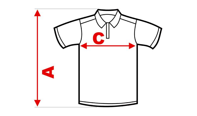 Rozmiarówka koszulek z logo oferowanych przez BiB Olsztyn